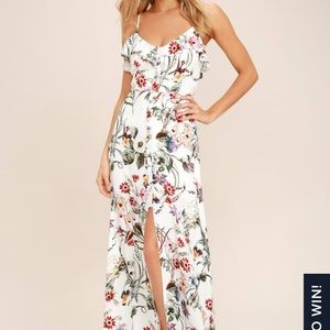 Lulu's Bloom on ivory floral print maxi dress